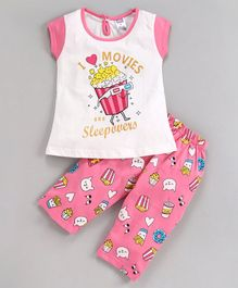 Nottie Planet Cap Sleeves I Love Movies & Sleepovers Print Night Suit - Pink