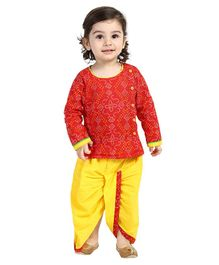 BownBee Full Sleeves Bandhini Print Kurta With Dhoti - Red Yellow