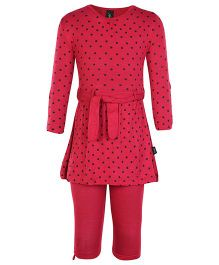 Papple Full Sleeves Dotted Tunic Top With Leggings - Red