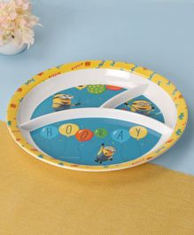 Minions Round Plate With Sections - Blue & Yellow