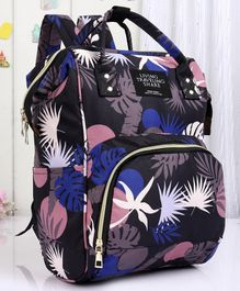 Backpack Style Diaper Bag Leaf Print - Blue Black