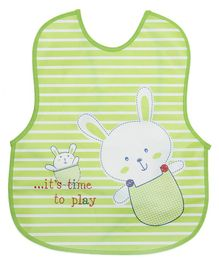 Alpaks Waterproof Baby Apron With Pocket Bunny Print - Green