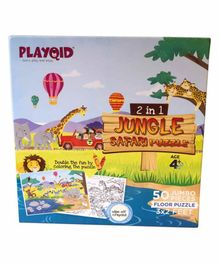 Palyqid 2 in 1 Jungle Safari Double sided Jumbo Floor Puzzle - 50 Pieces