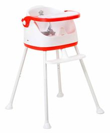 Webby Foldable Baby High Chair with Wheels - Red