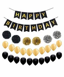 Party Propz Happy Birthday Balloons with Banner Black Gold - Pack of 27