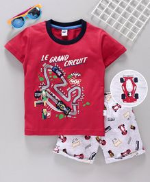 Teddy Half Sleeves T-Shirt & Shorts Race Track Print - Red Grey