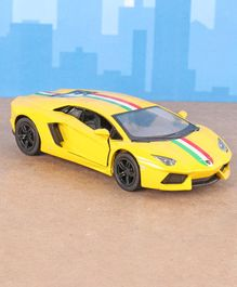 Kinsmart Die Cast Pull Back Lamborghini Aventador Toy Car - Yellow
