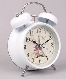 Round Shaped Alarm Clock Eiffel Tower Print - White