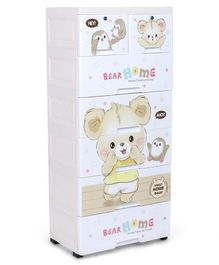 7 Compartment Chest of Drawers Teddy Print - Cream