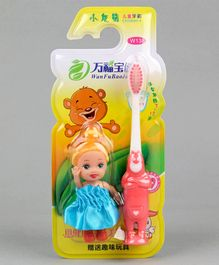 Baby Toothbrush with Doll - Blue Dark Pink