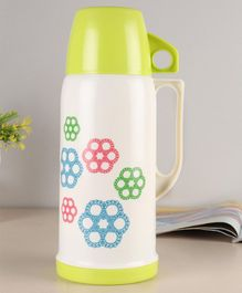 Flask with Mug Floral Print Green White - 1000 ml