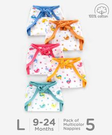 Babyhug U Shape Reusable Printed Muslin Cotton Nappy Large Pack of 5 - Multicolor