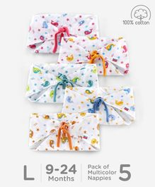 Babyhug Muslin Cotton Reusable Triangle Printed Cloth Nappies Large Set of 5 - Multicolor