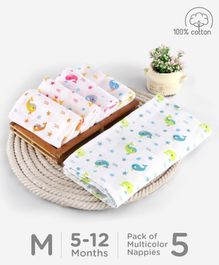Babyhug Reusable Square Printed Muslin Cotton Nappy Set Medium Pack of 5 - Multicolor