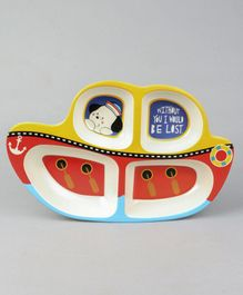Boat Shaped Section Plate - Yellow Red
