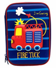 Spiky Stripe Pencil Case Fire Truck Design - Blue
