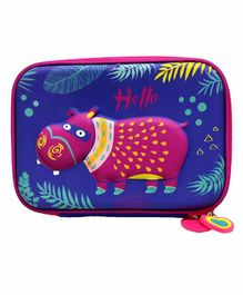 Spiky Animal Printed Pencil Pouch - Blue