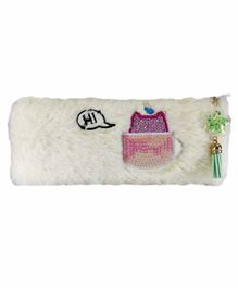 Spiky Soft Fur Pencil Pouch – White