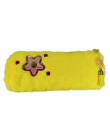 Spiky Soft Fur Pencil Pouch Embroidered- Yellow