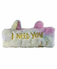 Spiky Fur Pencil Pouch Text Embroidery - White