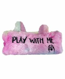 Spiky Fur Pencil Pouch Text Print - Pink