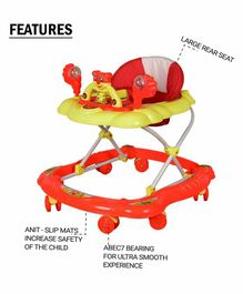 Cosmo Musical Baby Walker with Play Tray - Orange Yellow