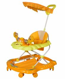 Cosmo Musical Baby Walker with Play Tray & Canopy - Yellow