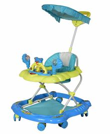 Cosmo Musical Baby Walker with Play Tray & Canopy - Blue