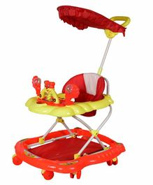 Cosmo Musical Baby Walker with Canopy and Parent Push Handle - Red Yellow