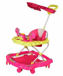 Cosmo Musical Baby Walker with Canopy and Parent Push Handle - Pink Yellow