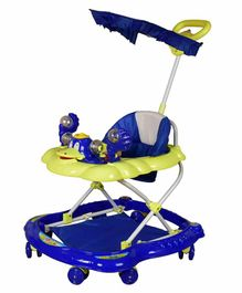 Cosmo Musical Baby Walker with Canopy and Parent Push Handle - Blue Yellow