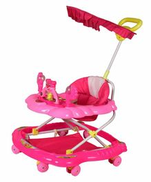 Cosmo Musical Baby Walker with Canopy and Parent Push Handle - Pink