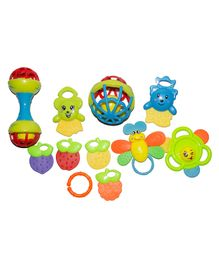 Yamama Rattle with Teether Set Pack of 8 -  Multicolor