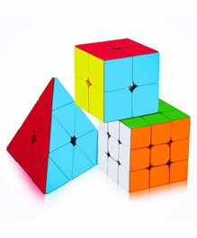 Yamama Combo of 2X2 3x3 and Pyramid Triangle Stickerless Cube - Multicolor