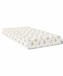 The White Cradle Organic Cotton Cot Sheet Giraffe Print - White Brown