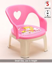 Chair with Backrest Bear Print - Pink