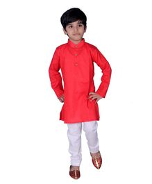 Mittenbooty Full Sleeves Solid Kurta & Pajama Set - Red