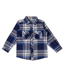 Kid Studio Checked Full Sleeves Shirt With Front Pockets - Blue