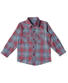 Kid Studio Full Sleeves Checked Shirt - Grey