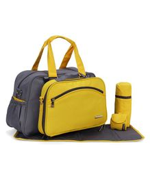 My Milestones Diaper Bag Duo Detach - Yellow And Grey