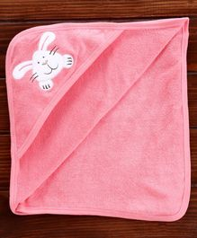 Pink Rabbit Hooded Towel Bunny Embroidery - Pink
