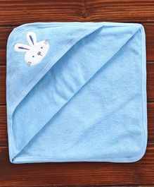Pink Rabbit Hooded Towel Bunny Embroidery - Blue