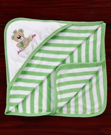 Pink Rabbit Striped Hooded Bath Towel Teddy Embroidery - Green