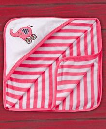 Pink Rabbit Hooded Striped Baby Towel Elephant Embroidery - Pink