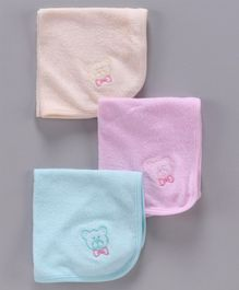 Simply Wash Cloths Bear Embroidery Pack of 3 - Pink Peach Blue