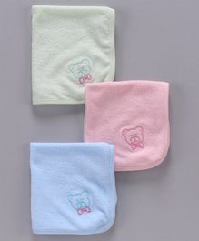 Simply Wash Cloths Bear Embroidery Pack of 3 - Green Peach Blue