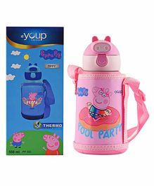 Youp Peppa Pig Sipper Water Bottle with Zip Cover Pink - 550 ml