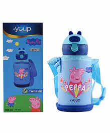 Youp Peppa Pig Sipper Water Bottle with Zip Cover Blue - 550 ml