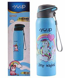 Youp Stainless Steel Sipper Water Bottle Unicorn Print Blue - 500 ml