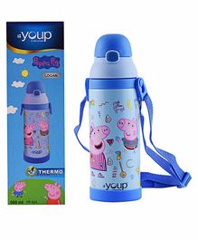 Youp Stainless Steel Sipper Bottle Peppa Pig Print Blue - 500 ml